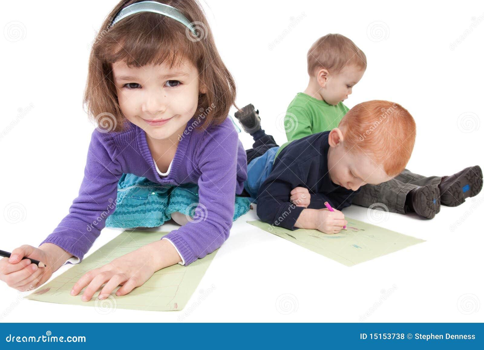 Happy kids drawing