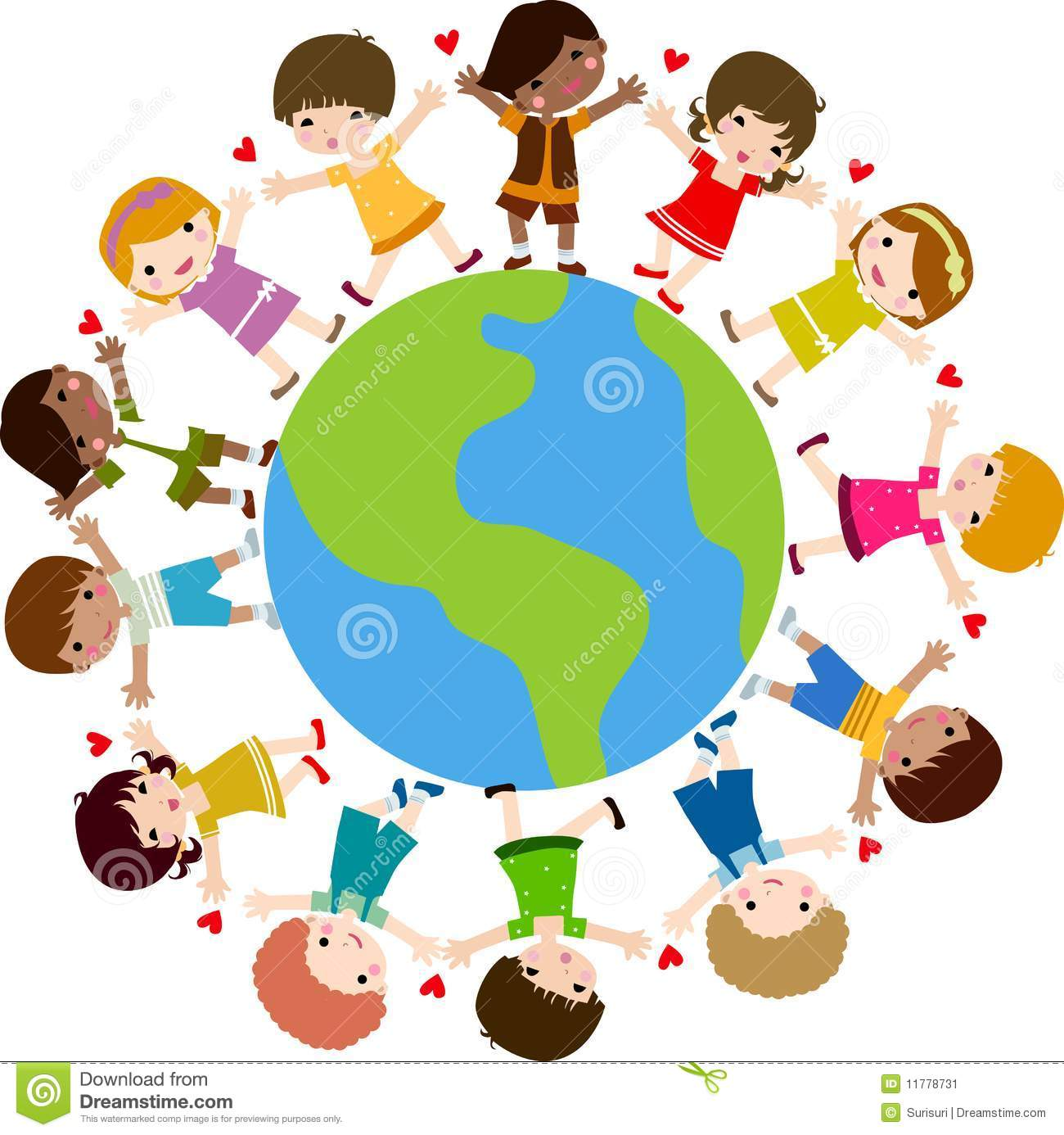 Happy kids and earth stock vector. Illustration of girl ...