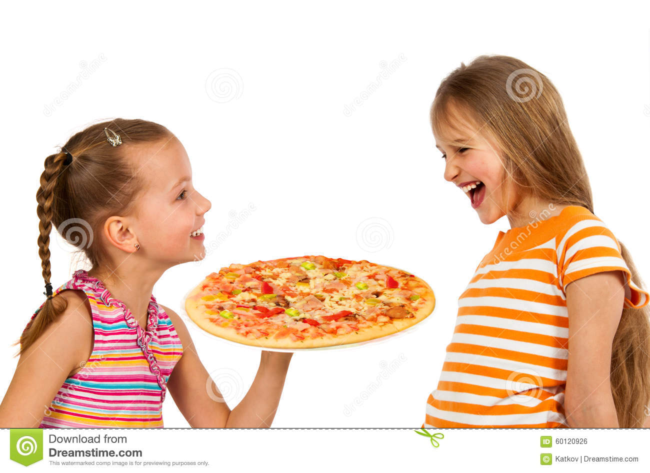 Happy kids eating pizza stock photo. Image of pasta ...