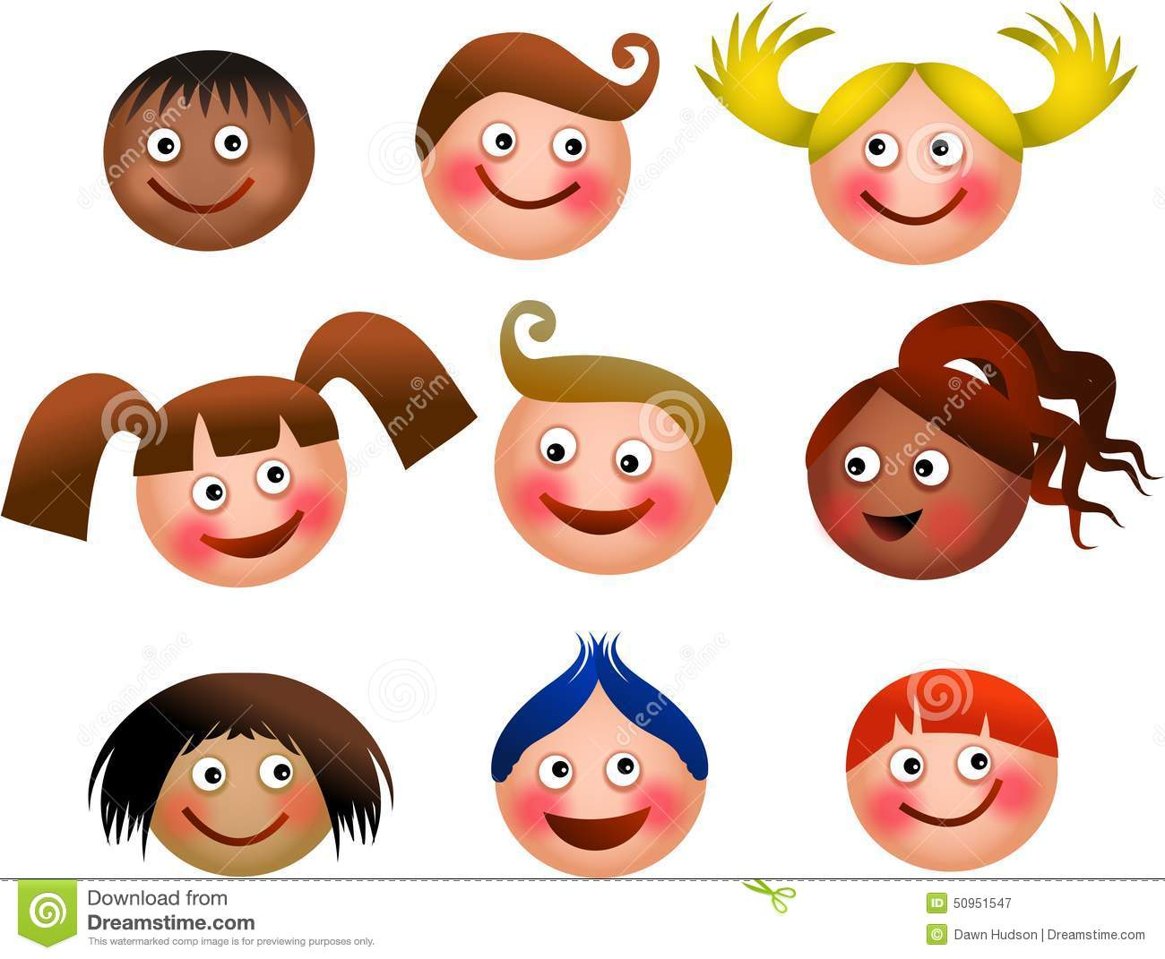 Happy Kids Faces Stock Illustration