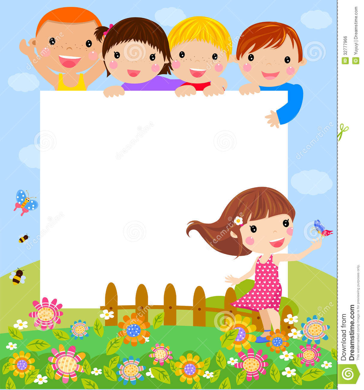 happy kids and frame - Download Free Kids Cartoon