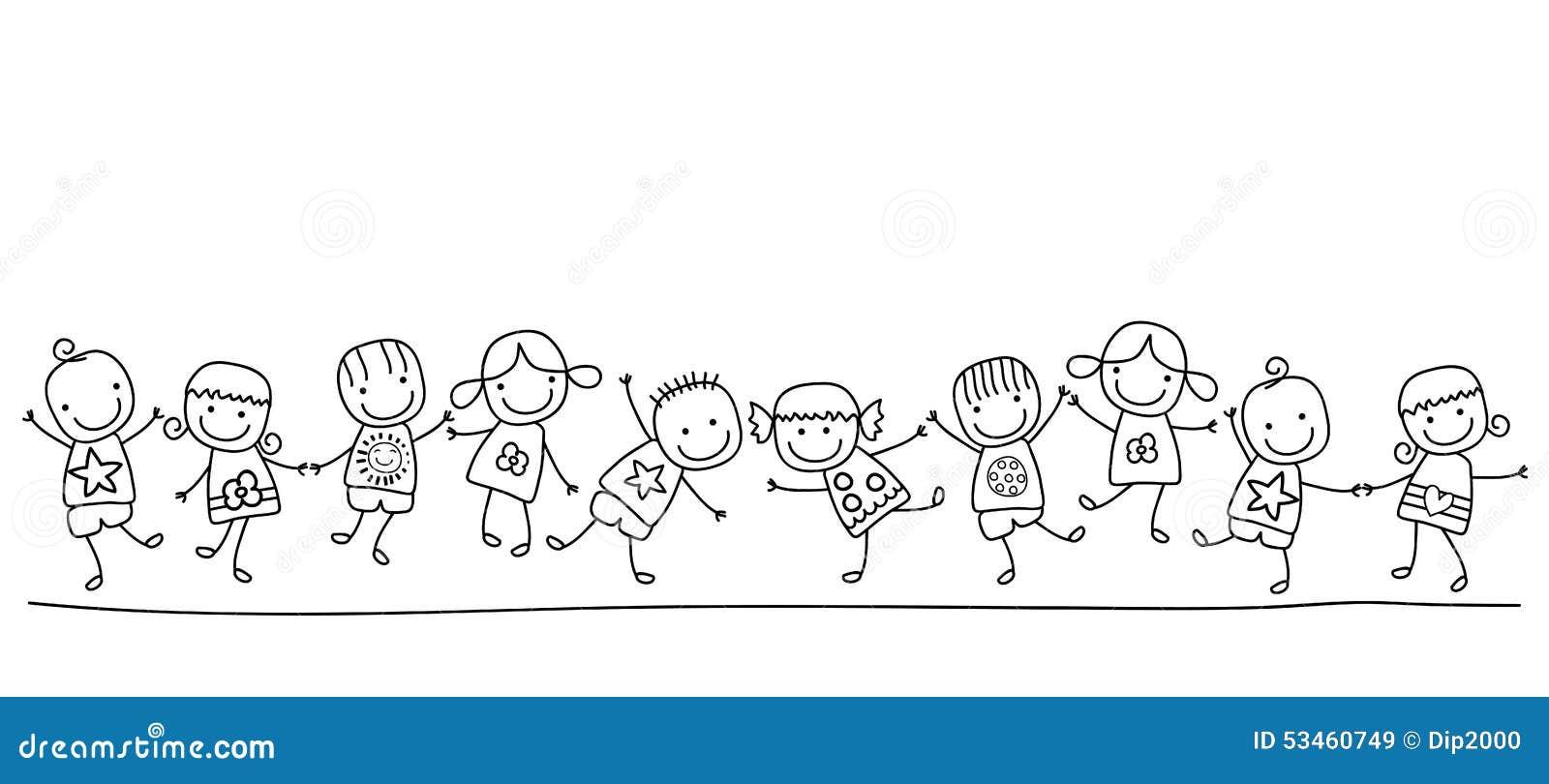 Ispirazione Disegni Di Bambini In Fila Da Colorare ...