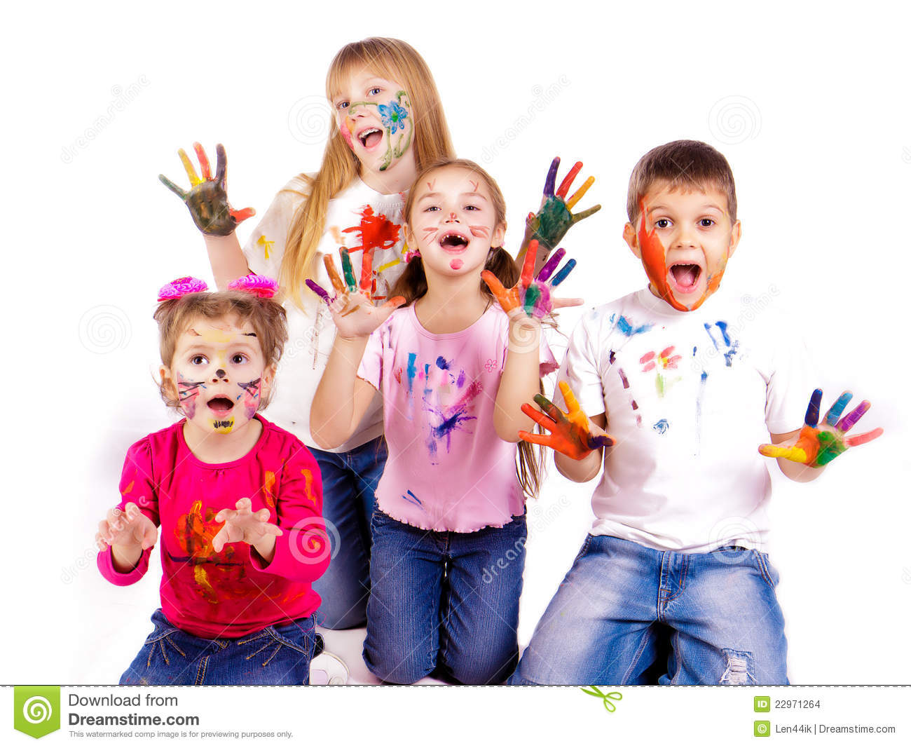 Painting Child With Hands Together