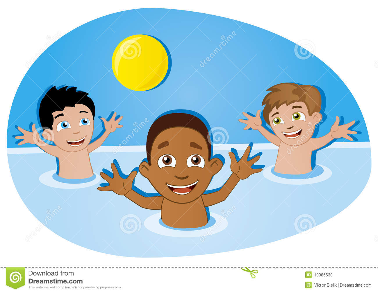 Happy kids having fun with ball in swimming pool stock photo image