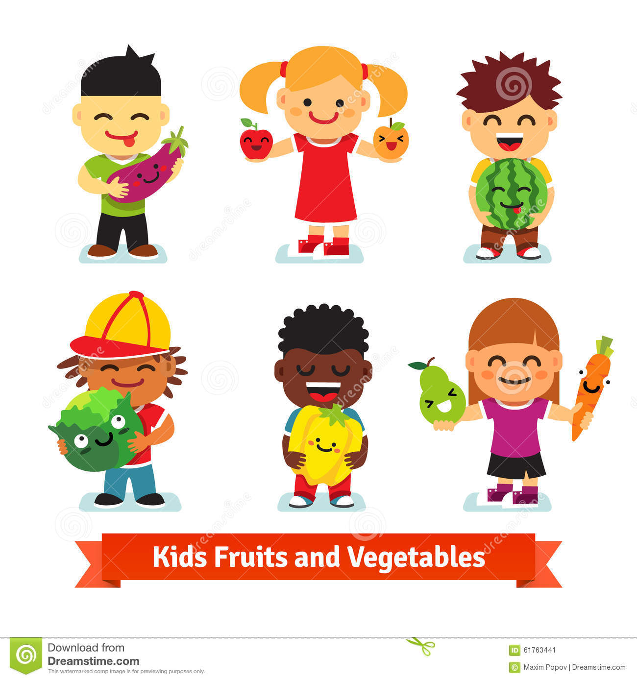 happy kids holding smiling fruits and vegetables stock vector