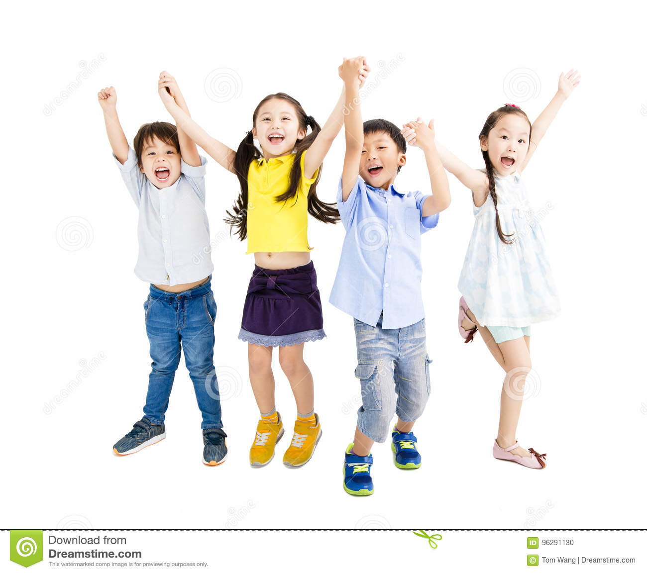 Happy kids jumping and dancing