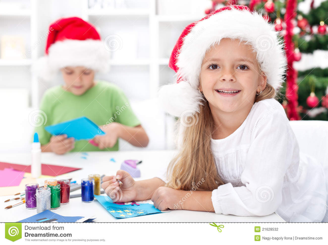 happy kids making christmas cards stock photo  image of