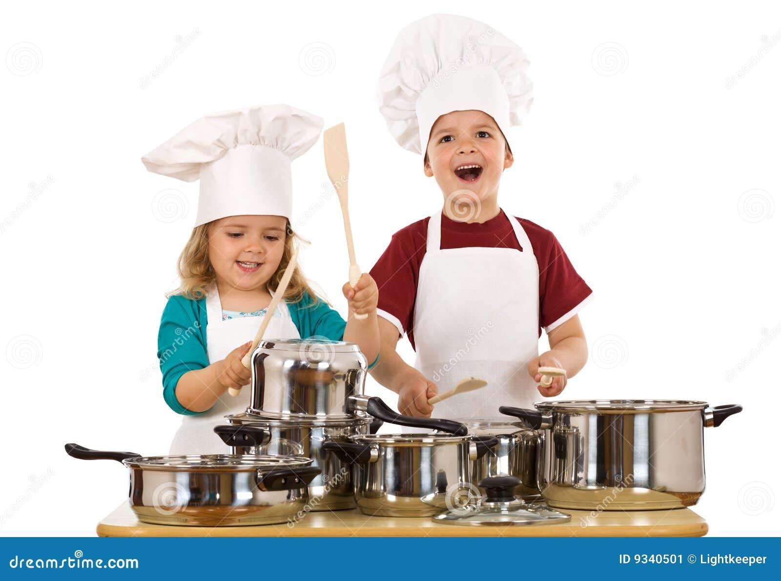 Happy kids making noise