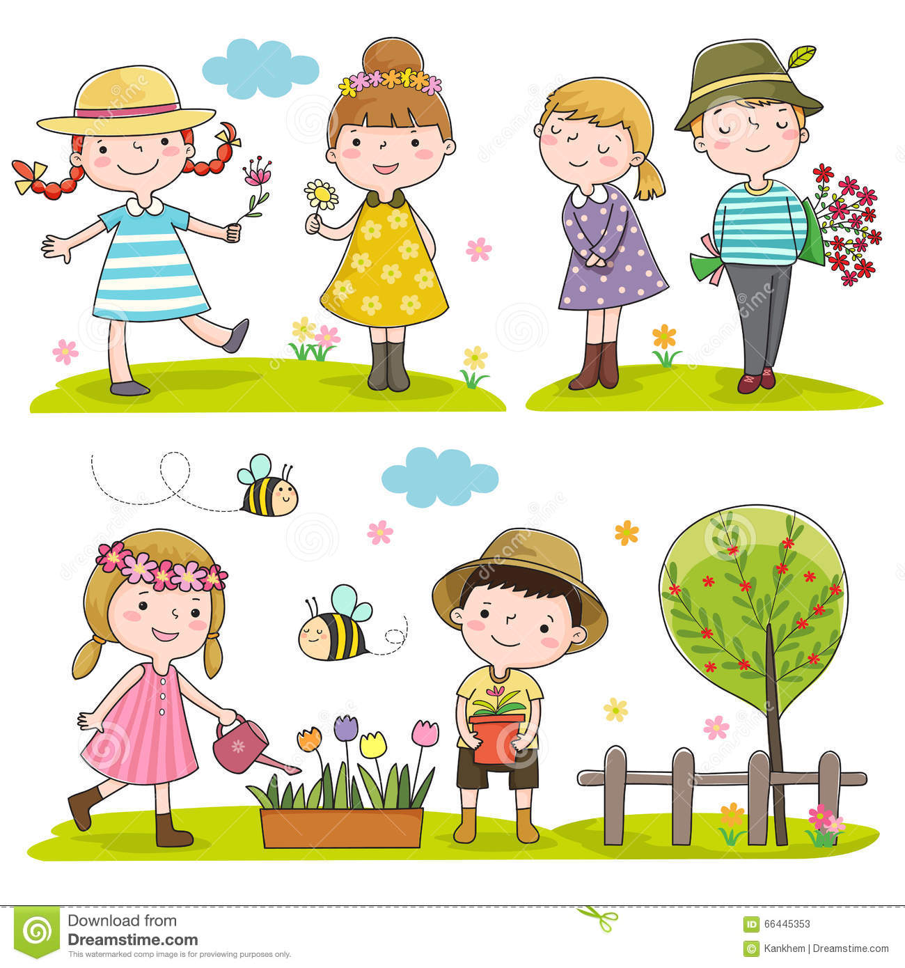 happy kids outdoor in spring season stock photos - Spring Pictures For Kids