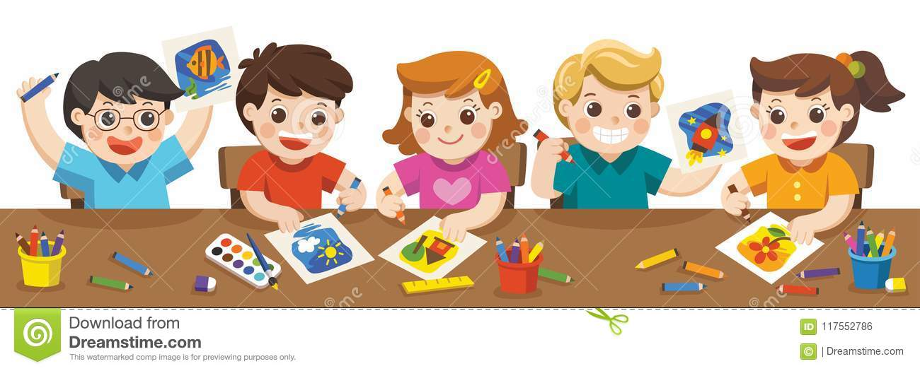 Happy Kids Painting In Art Class. Stock Vector - Illustration of ...
