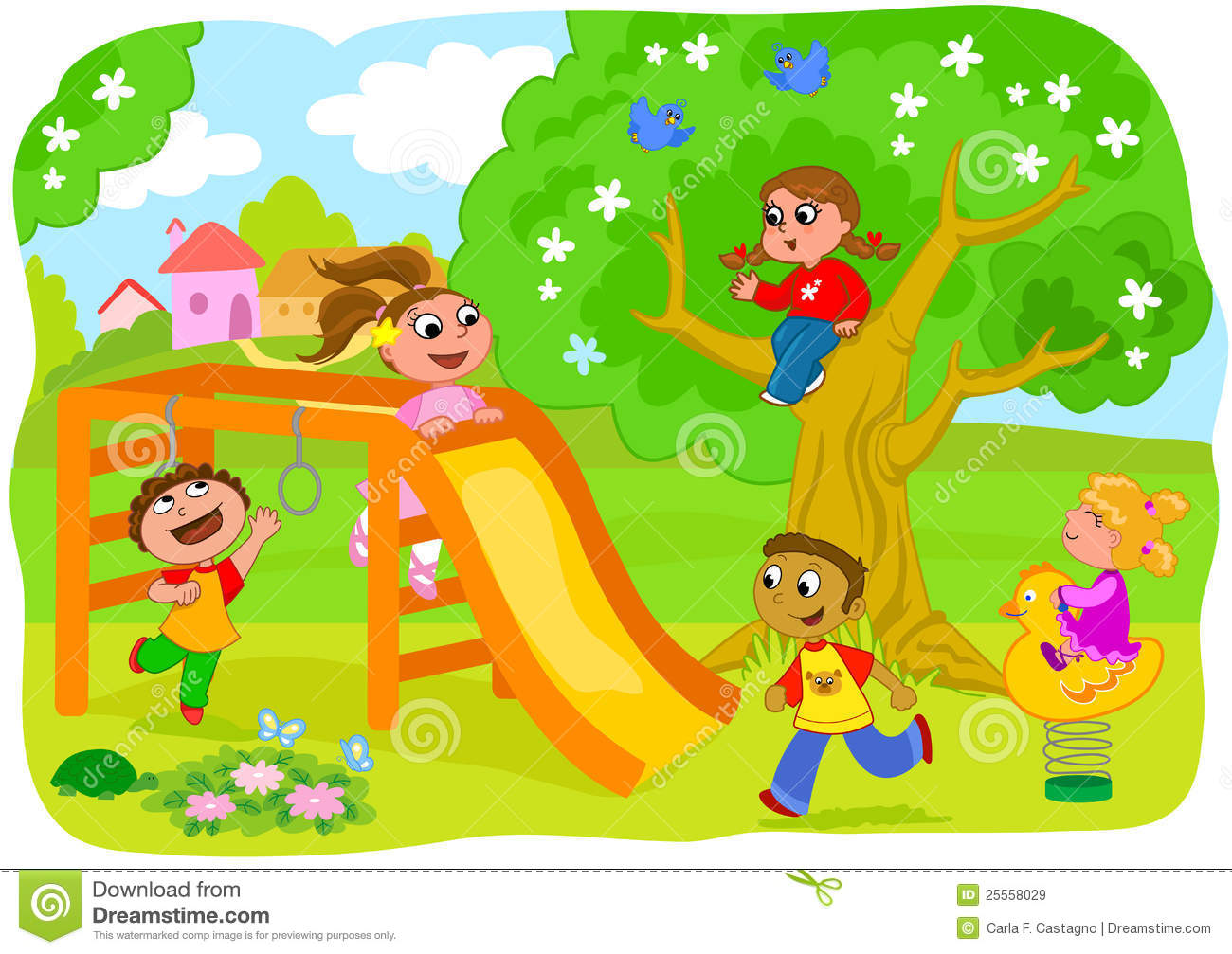 Happy Kids Playing In The Countryside Royalty Free Stock ...