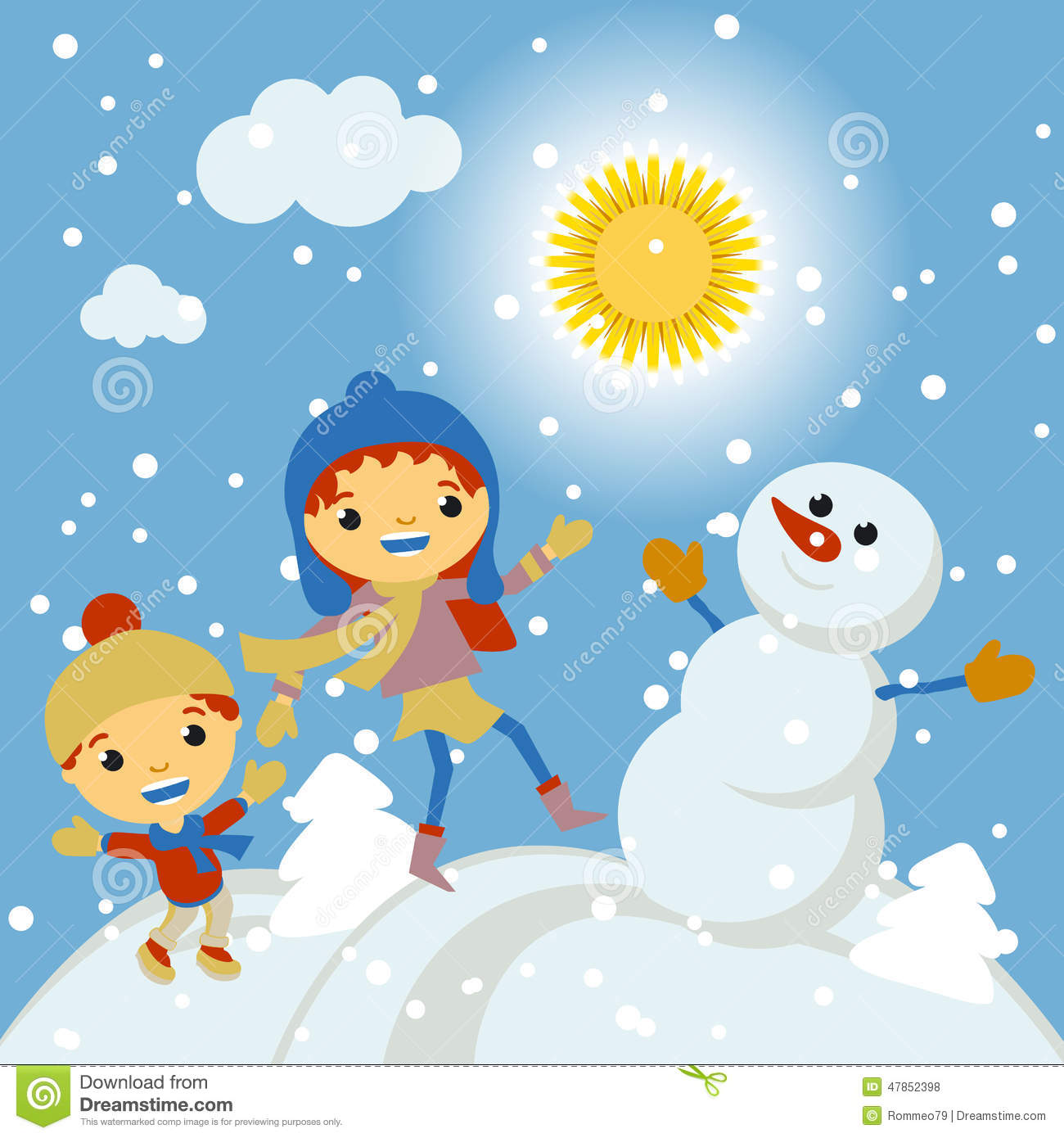 f84e178c6abb Happy Kids Playing With Snow Retro Christmas Card. Vector Stock ...