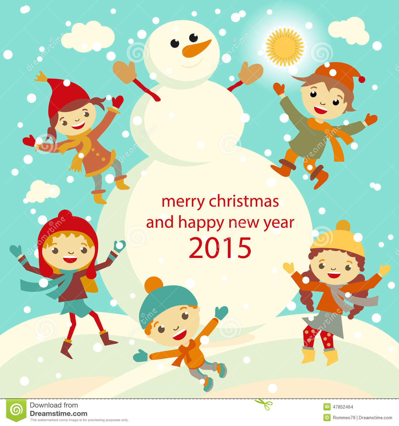 302b81165098 Happy Kids Playing With Snow Retro Christmas Card. Vector ...