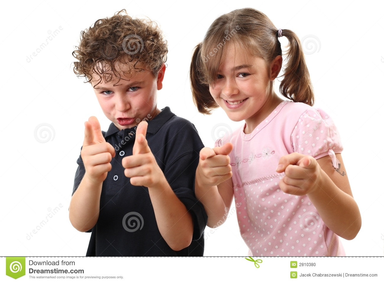 Happy Kids Pointing Stock Photo Image 2810380