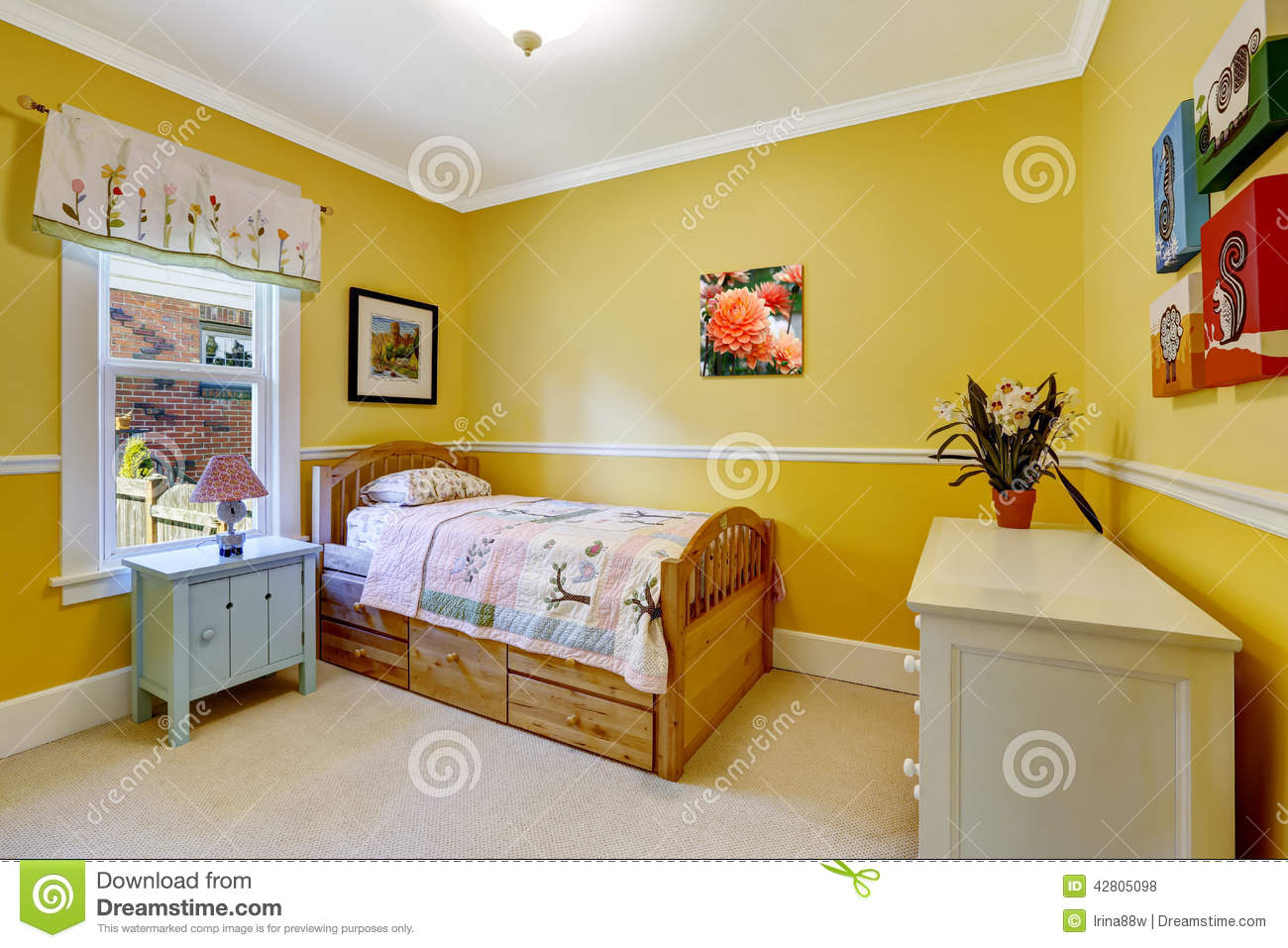 Happy Kids Room In Bright Yellow Stock Photo Image 42805098