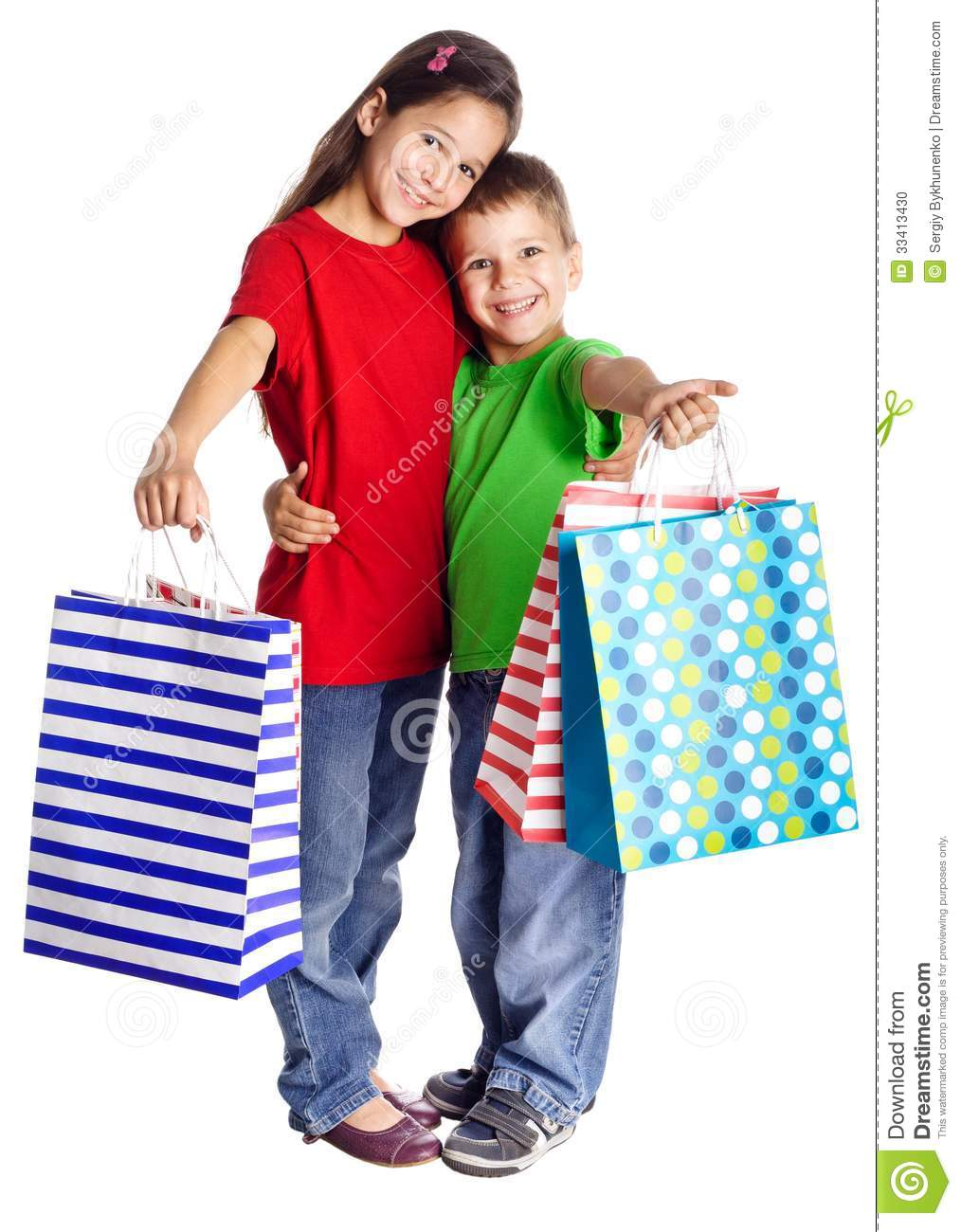 Happy Kids With Shopping Bags Stock Photo - Image: 33413430