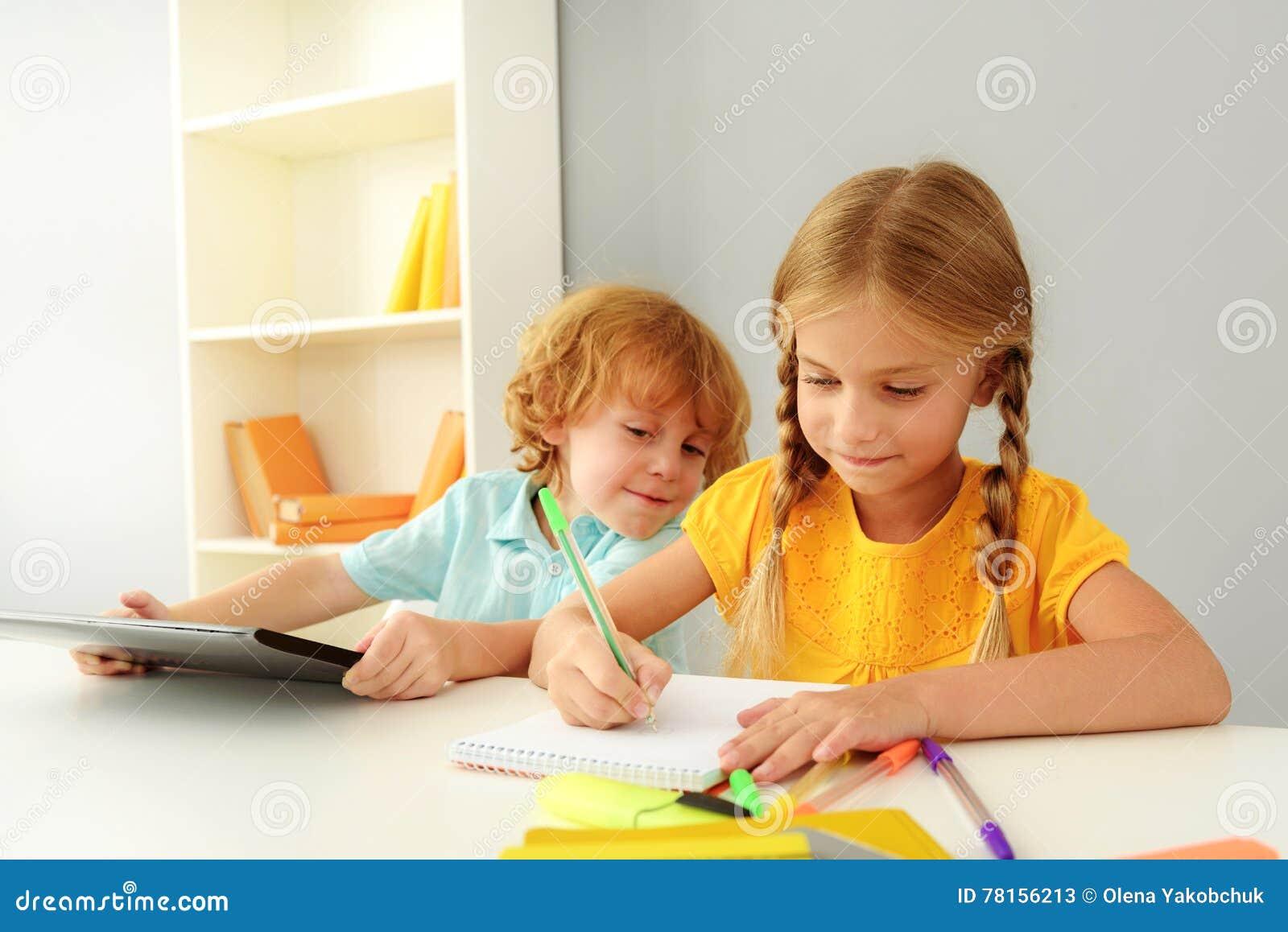 happy kids studying in kindergarten stock image image of childhood