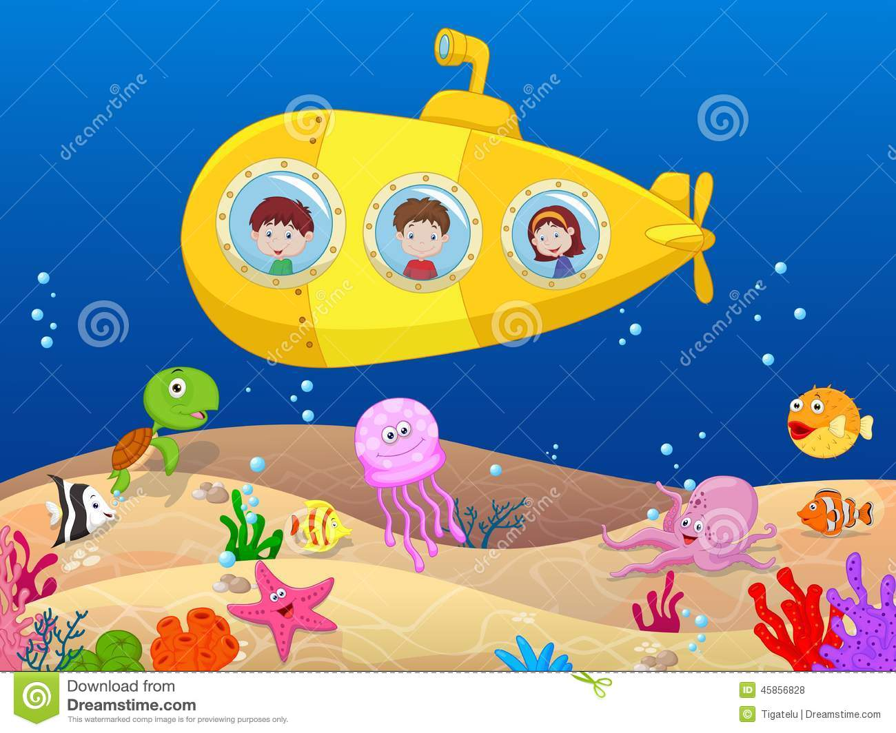 Todd Clipart 20 Fee Cliparts Download Imagenes: Happy Kids In Submarine Stock Vector. Illustration Of
