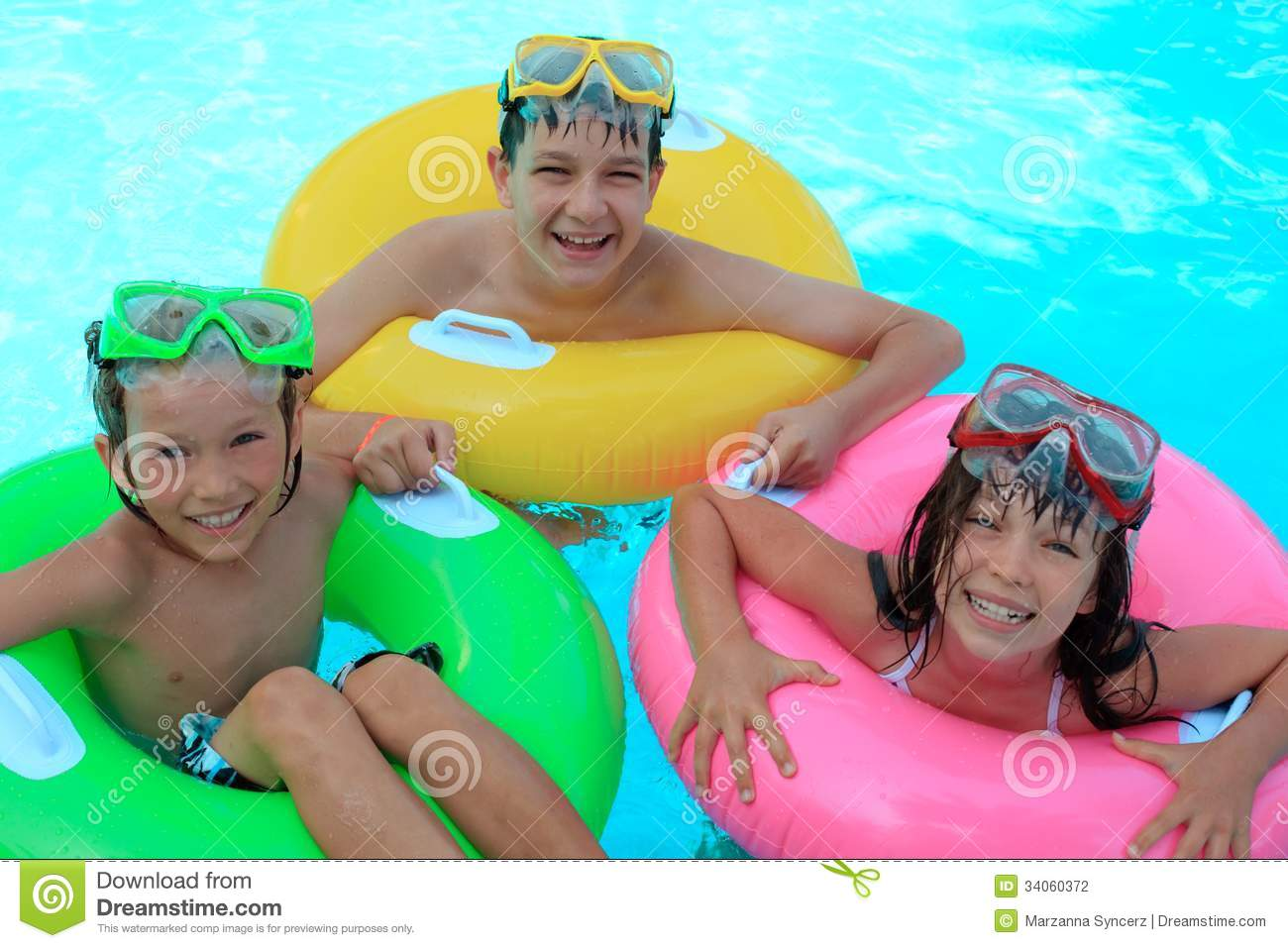 Happy Kids In Swimming Pool Stock Photography - Image ...