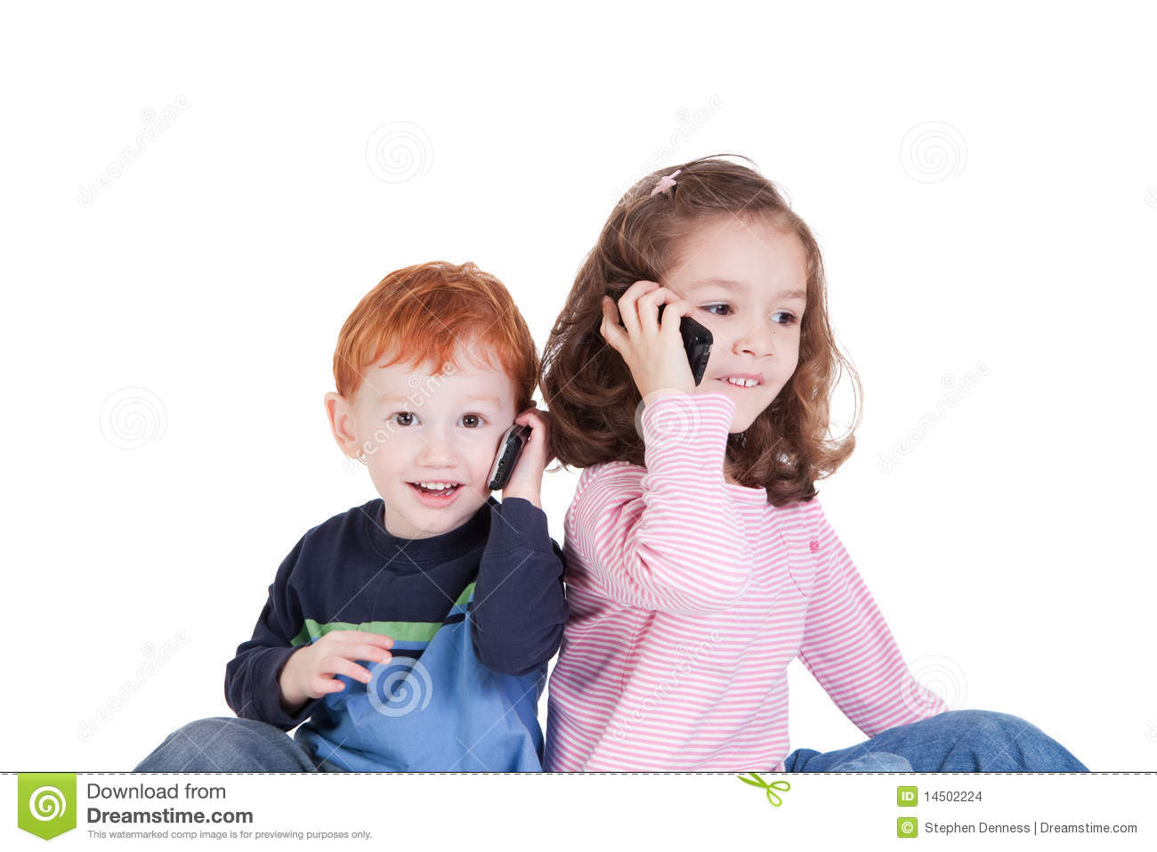 Happy Kids Talking On Mobile Phones Stock Images - Image ...