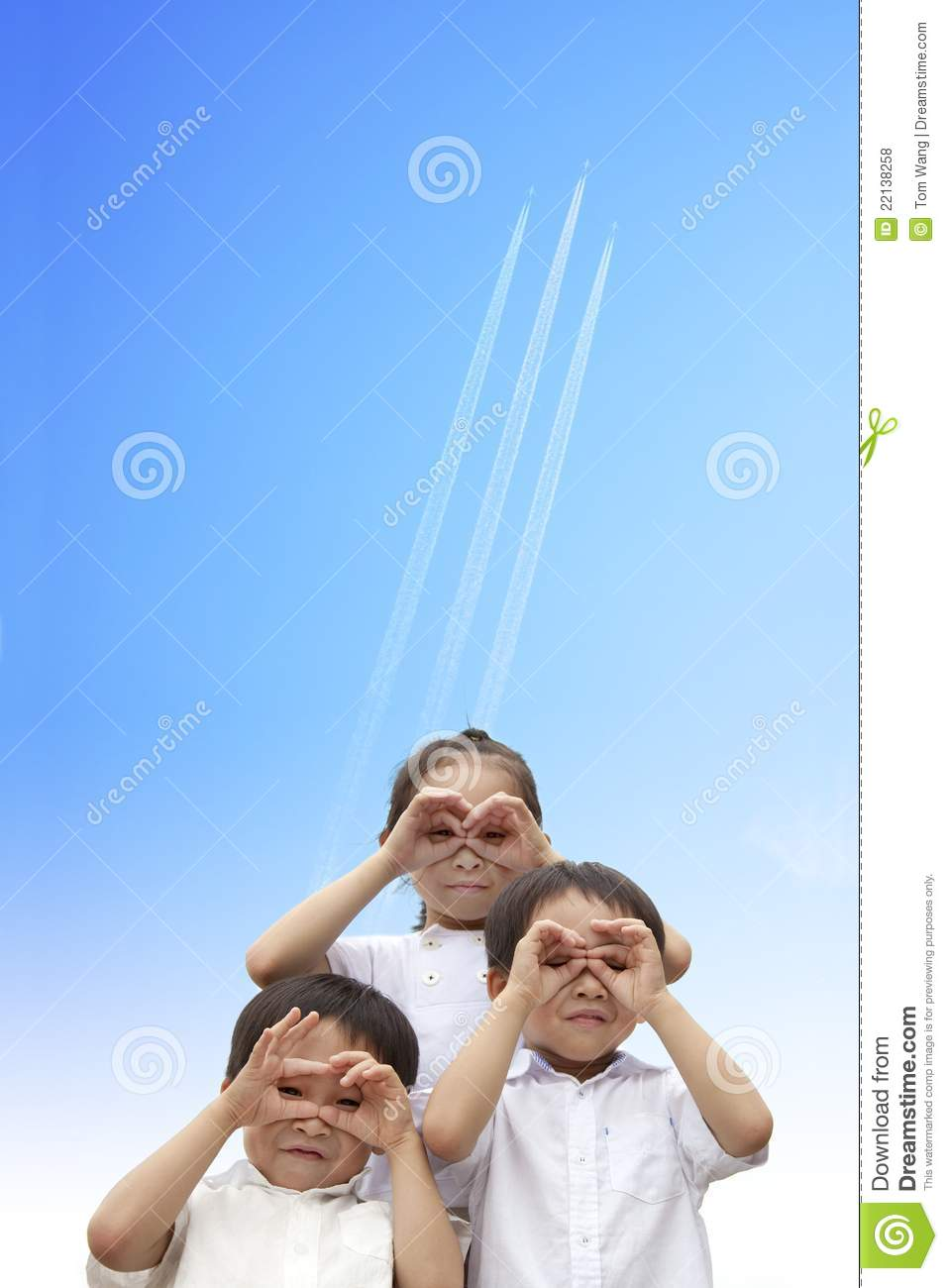 Happy kids watching the aircraft flying