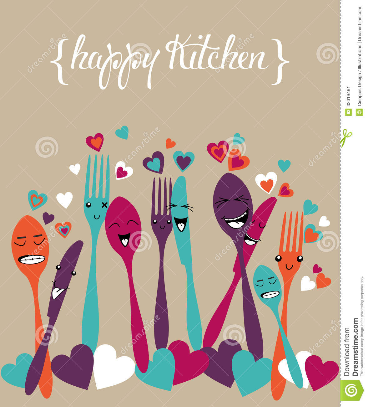 Stock Image Happy Kitchen Silverware Cartoon Set Colorful Cute Cutlery Background Vector File Layered Easy Manipulation Custom Image32019461 on file symbol thumbs up color