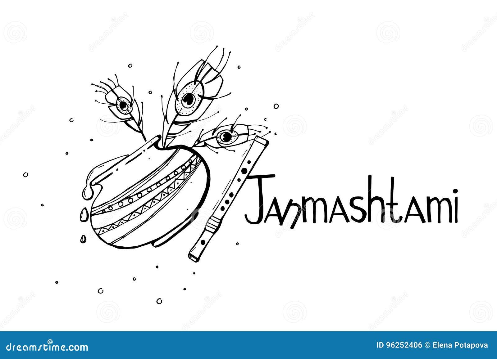 Happy Krishna Janmashtami Concept Poster Banner Card Vector Hand