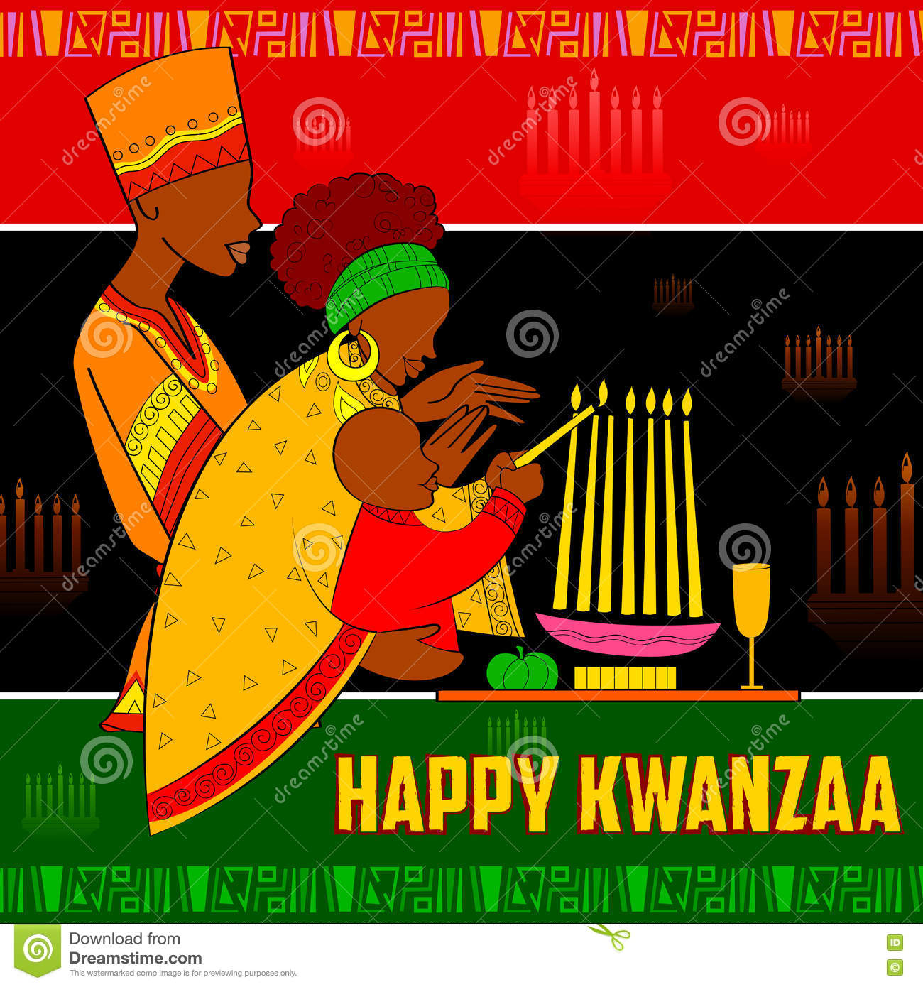 Happy kwanzaa greetings for celebration of african american holiday download happy kwanzaa greetings for celebration of african american holiday festival harvest stock vector illustration m4hsunfo