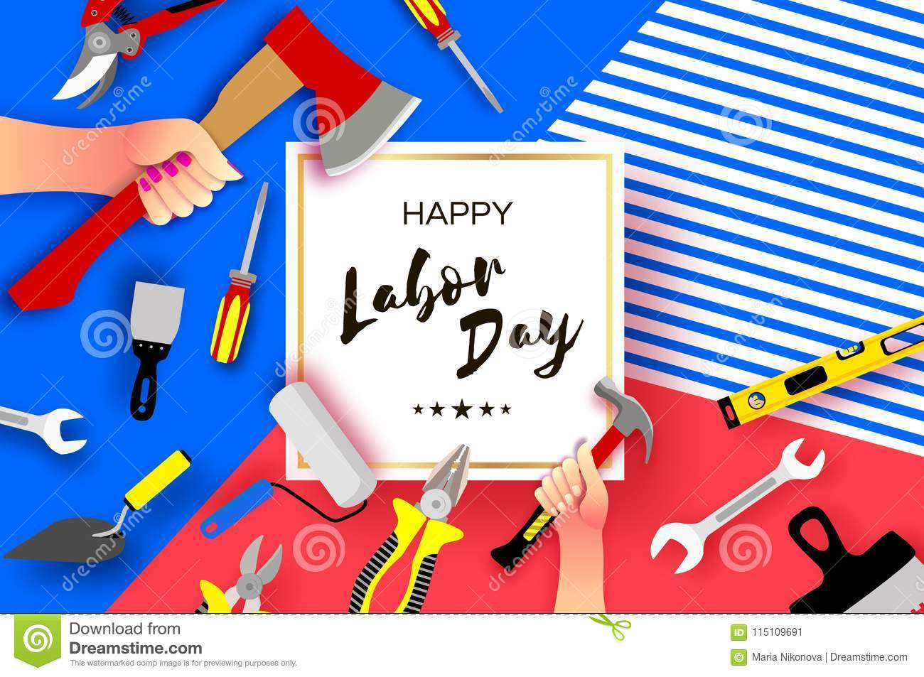 Happy Labor Day Greetings Card For National International Holiday