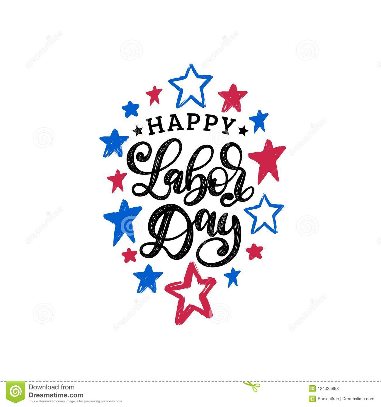Happy Labor Dayhand Lettering On Stars Background Vector