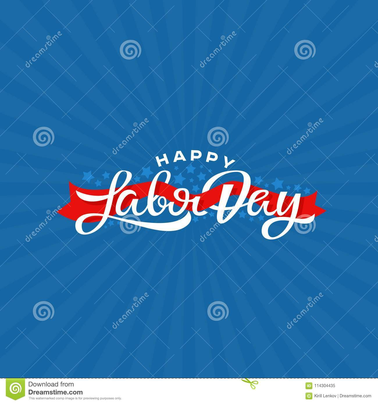 Happy Labor Day Lettering Vector Illustration National Holiday