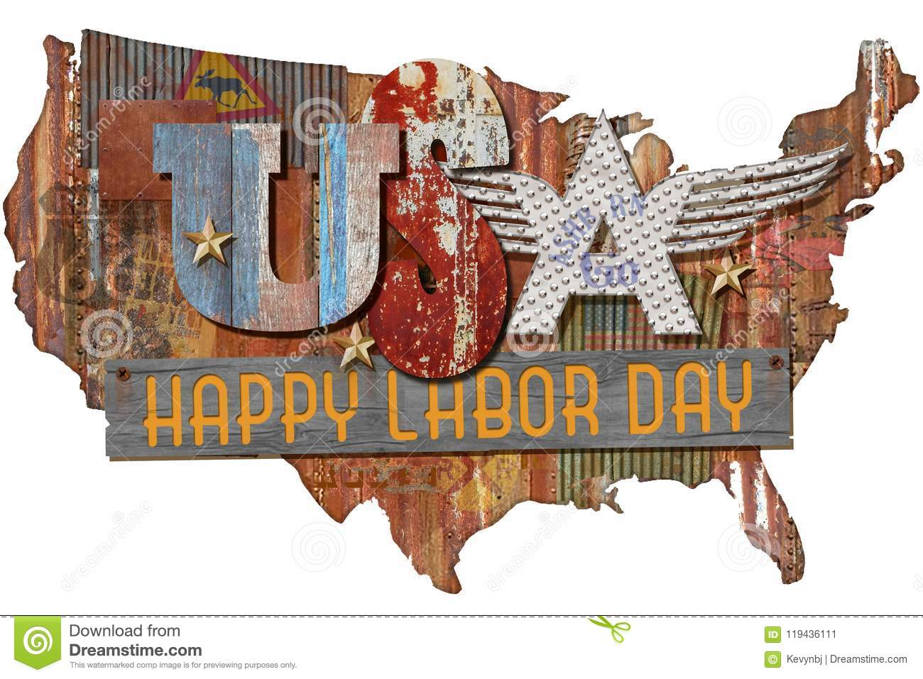 Happy Labor Day Art Folkart Sign
