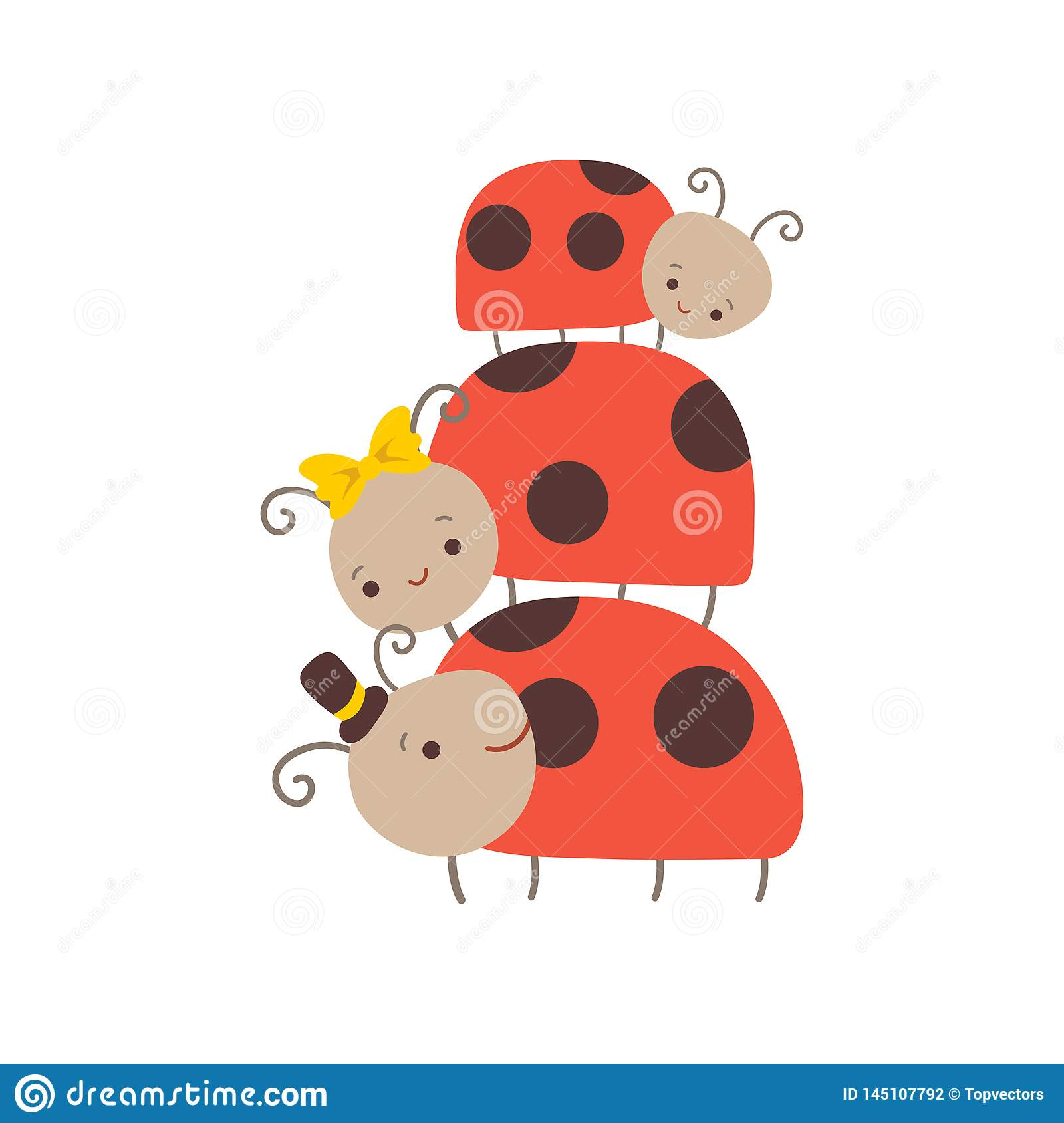 A Cartoon Ladybug happy ladybug family, father, mother ladybugs and their baby