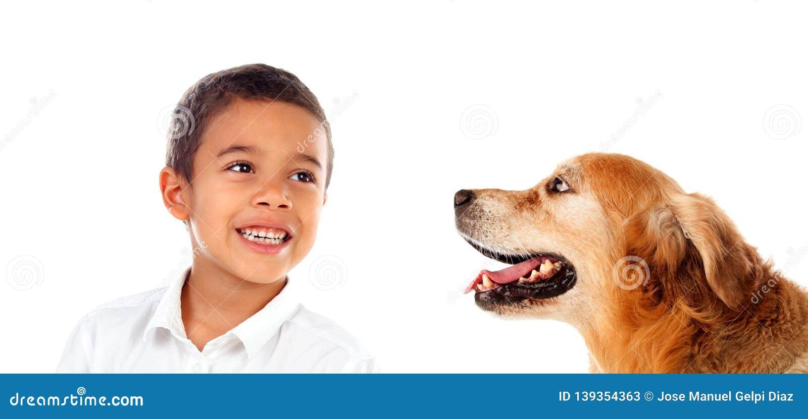Happy latin boy and his dog