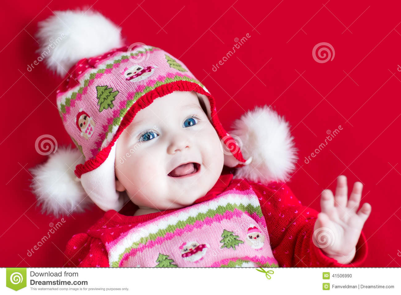 e703513b2 Happy Laughing Baby Girl In Christmas Knitted Hat Stock Photo ...