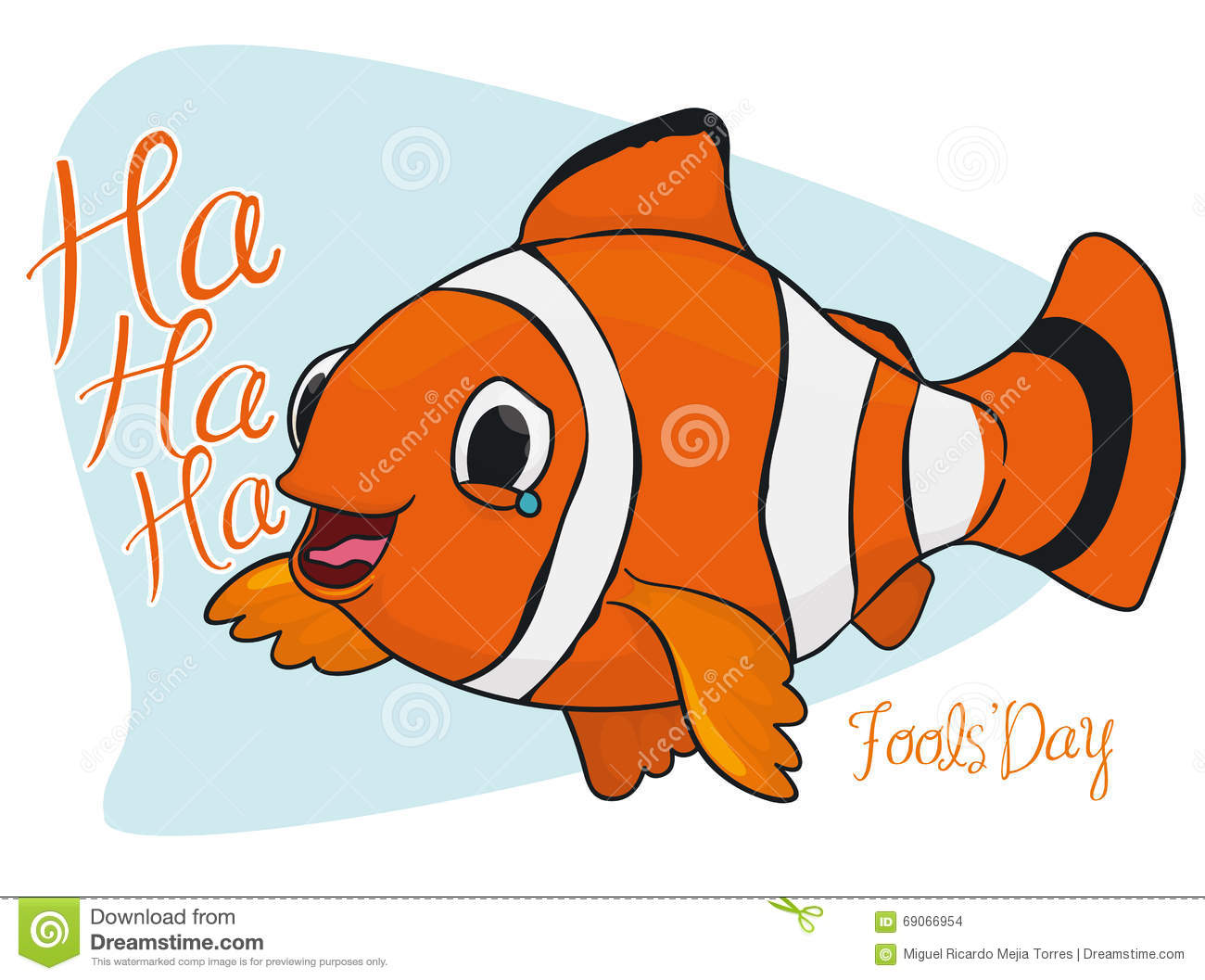 Happy Laughing Clown Fish for Fools  Day, Vector Illustration