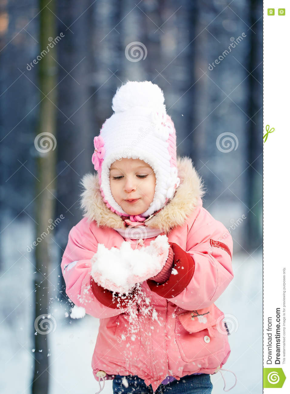 526b11843 Happy Laughing Toddler Girl In A Beautiful Snowy Winter Forest Stock ...