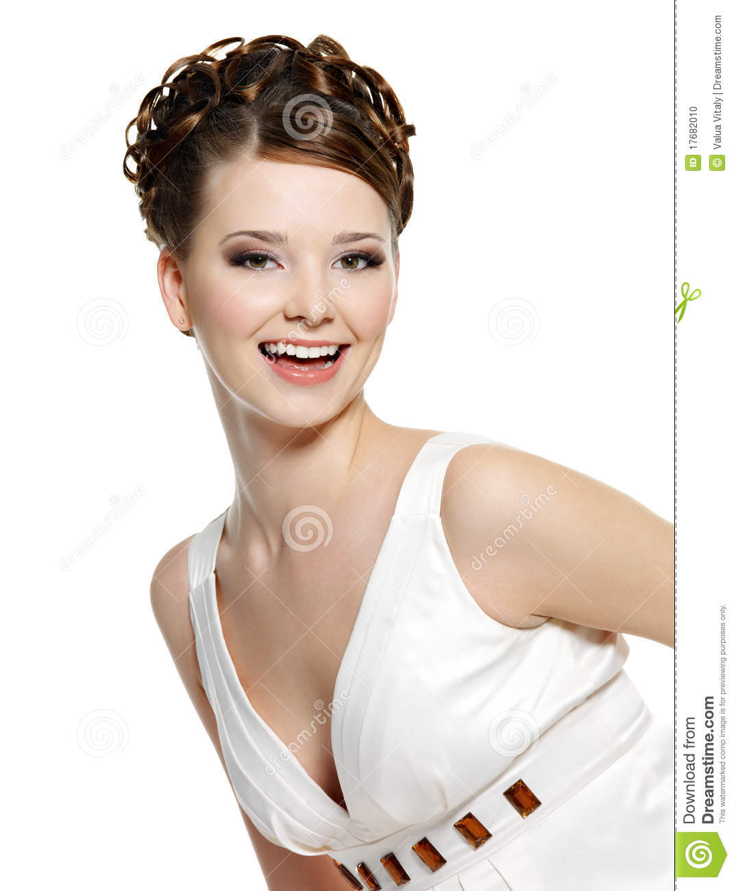 Happy laughing young beautiful woman