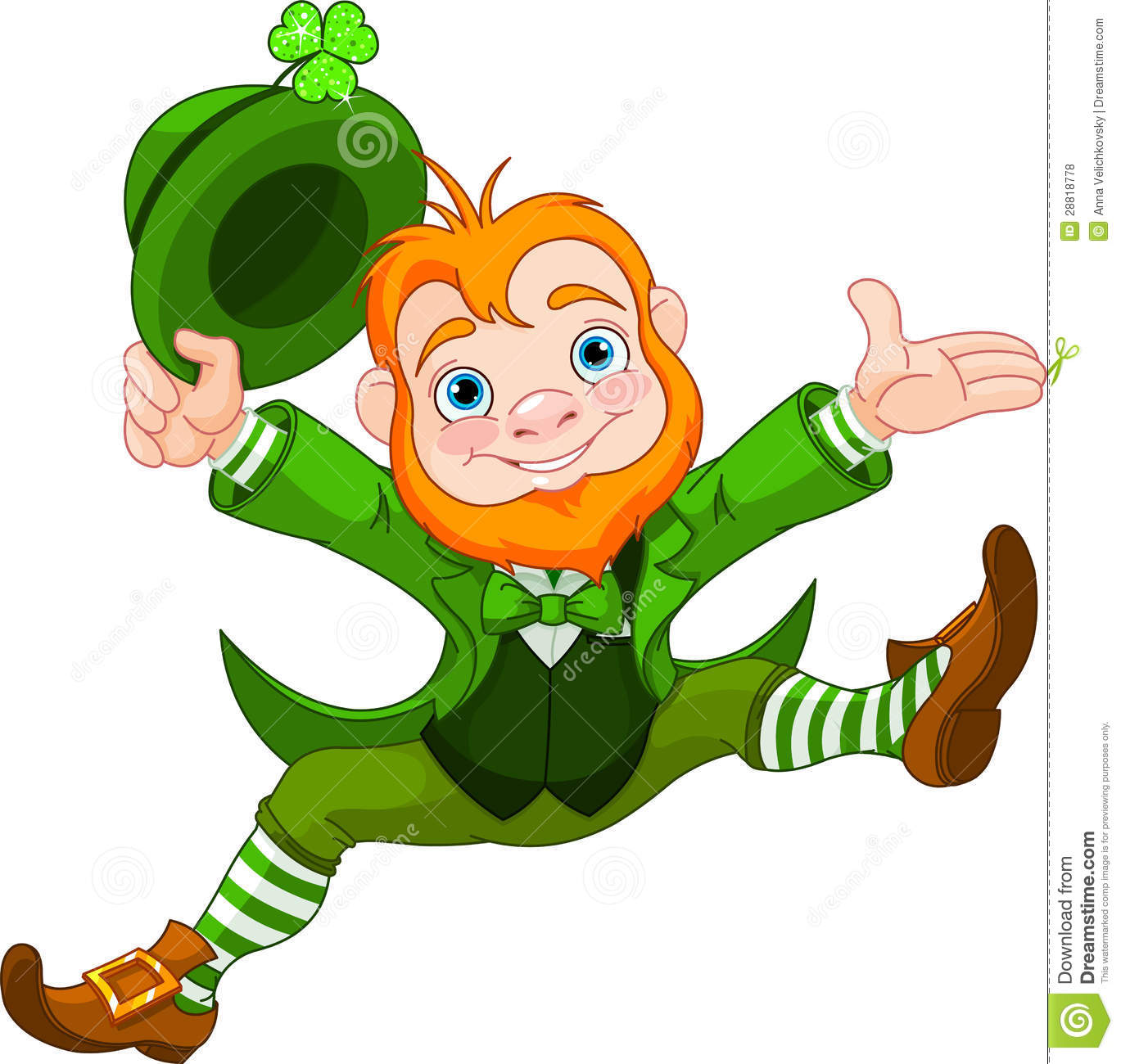 St. Patrick's Day Lucky Dancing Leprechaun Royalty Free Stock ...