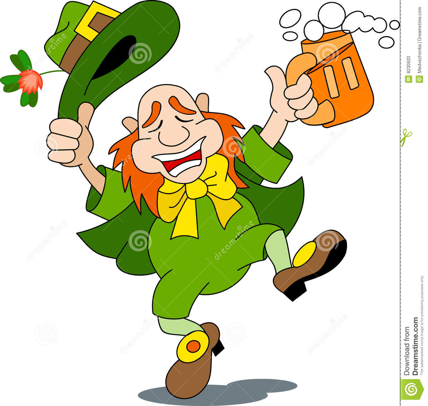 leprechaun is dancing with beer. Vector image.