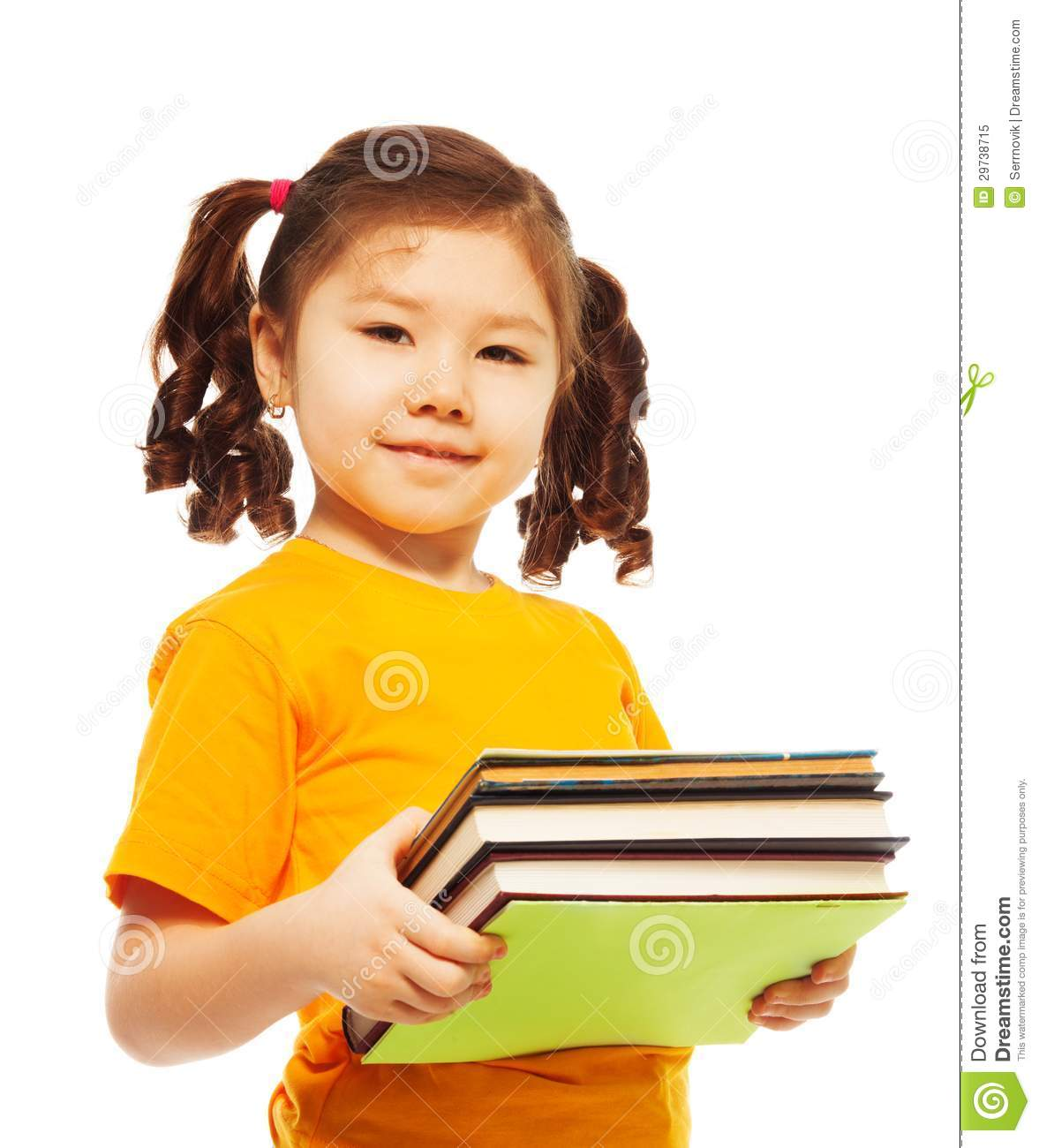 Clever School Girl: Clever Kid With Books Royalty Free Stock Photo