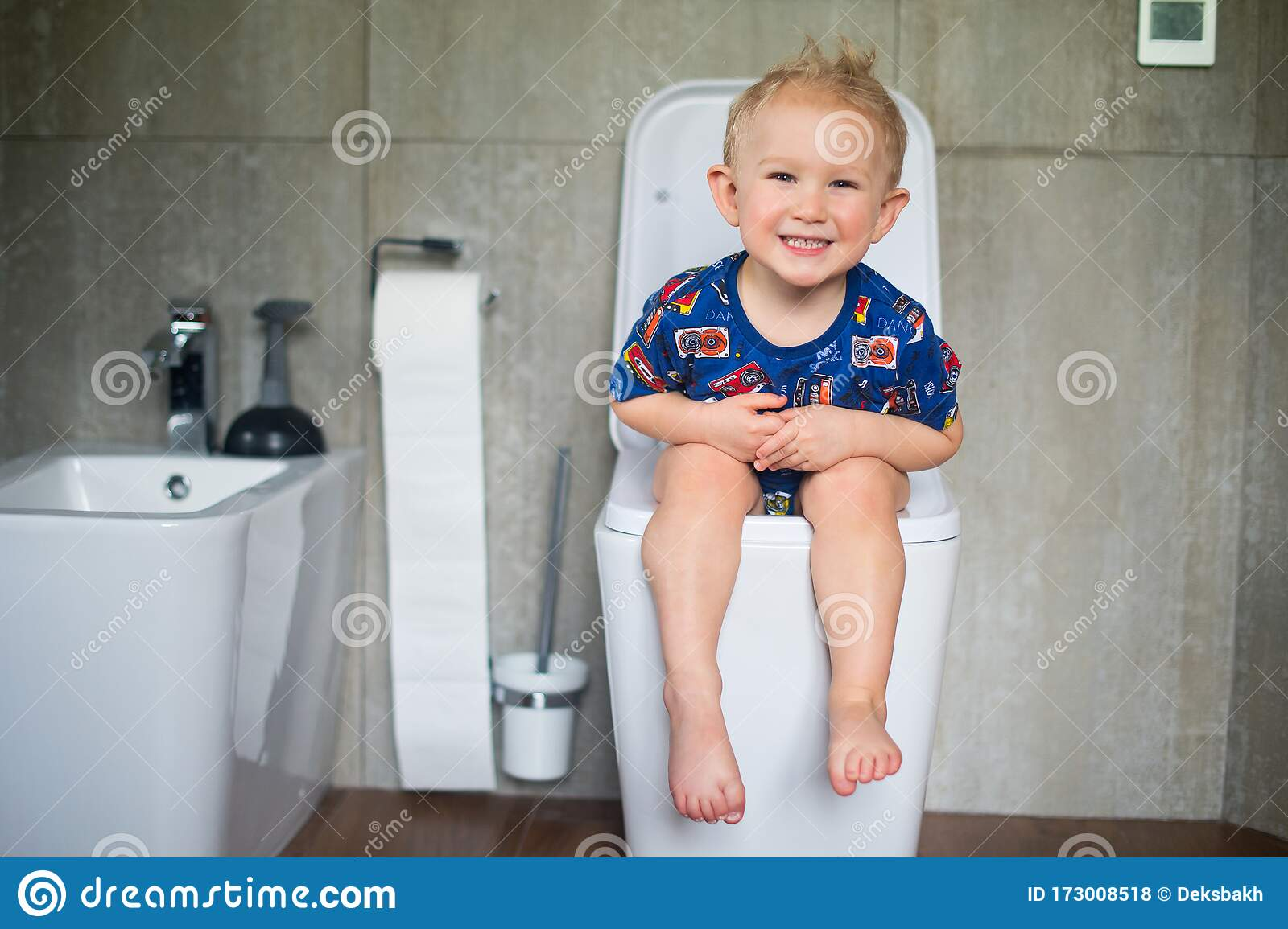 Little boy sitting on potty Stock photo and royalty-free