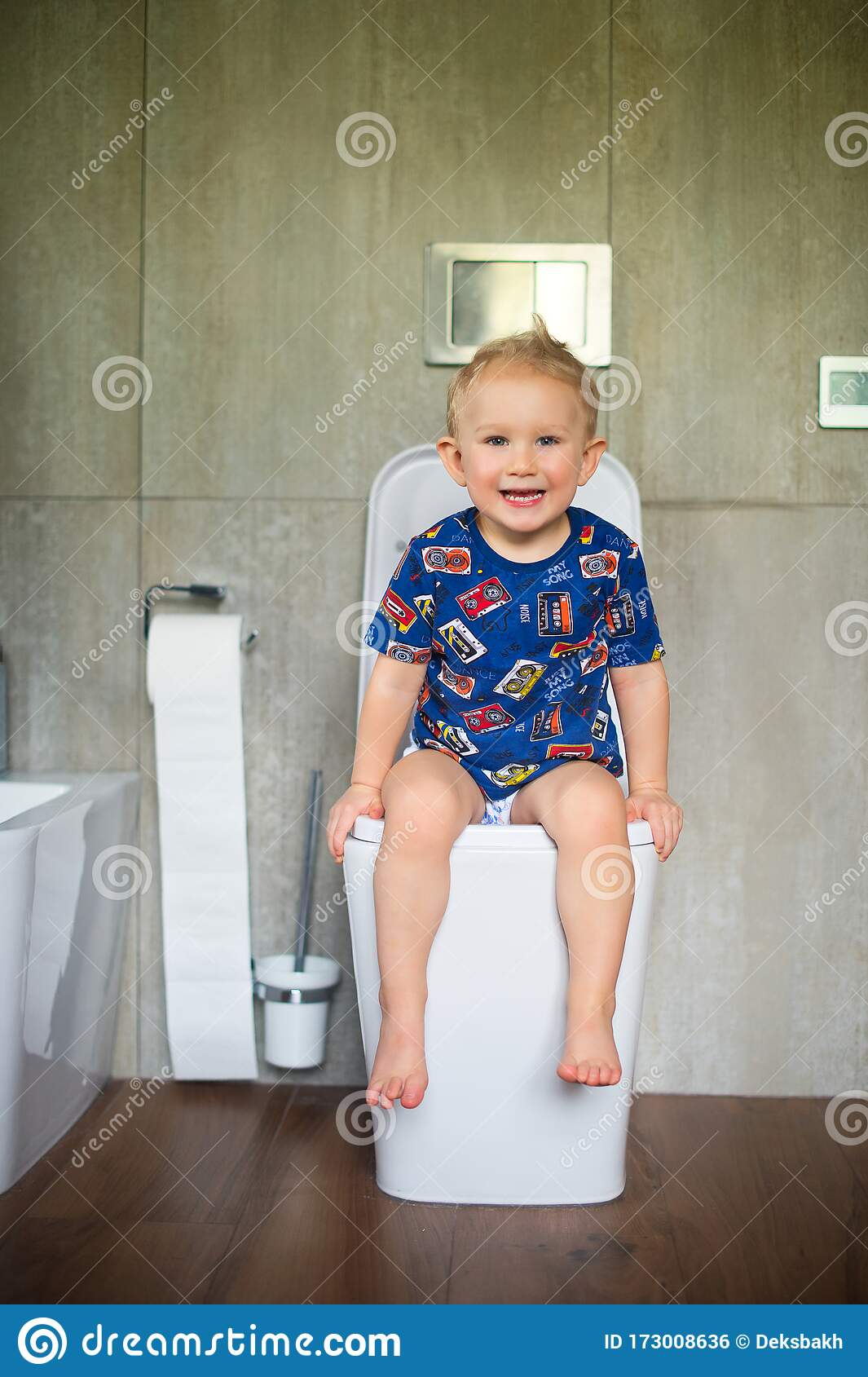 Fat Boy Sitting On The Toilet. Stock Photo - Image of