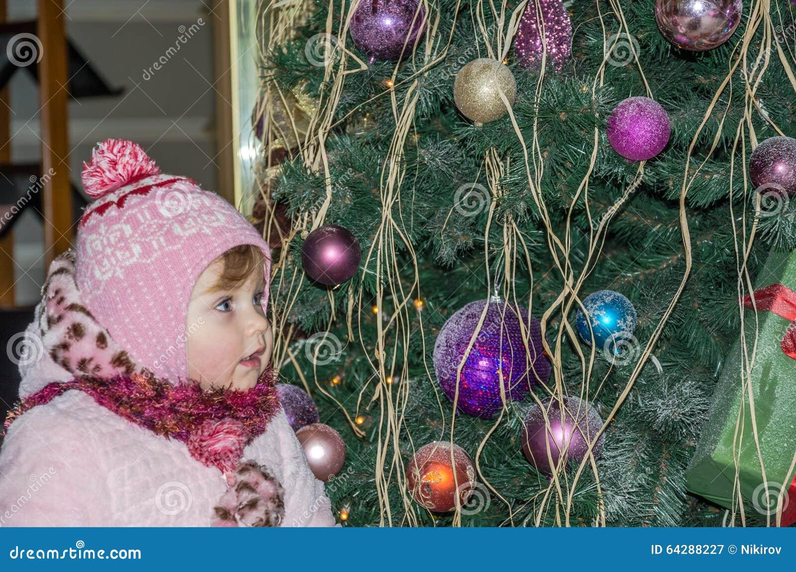 ea854840b22b Happy Little Baby Girl Is Beautiful In A White Fur Coat