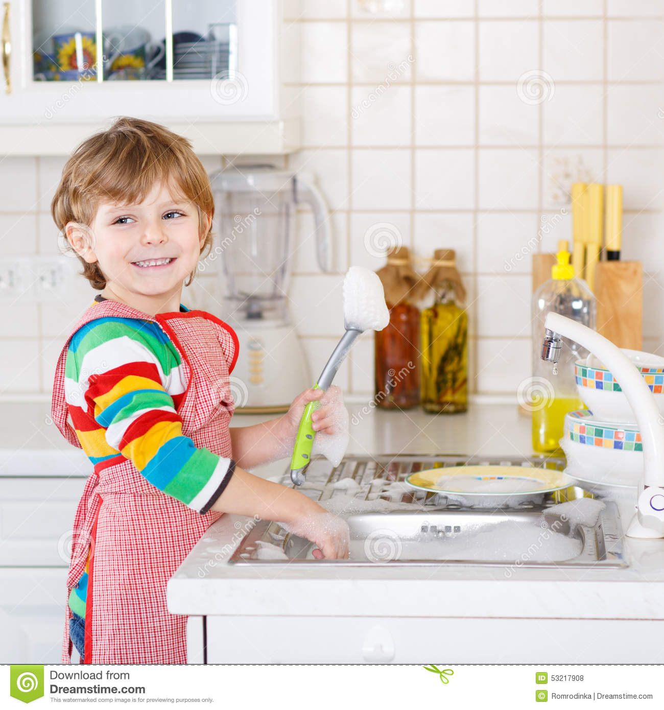 People Cleaning Kitchen: Happy Little Blond Kid Boy Washing Dishes In Domestic