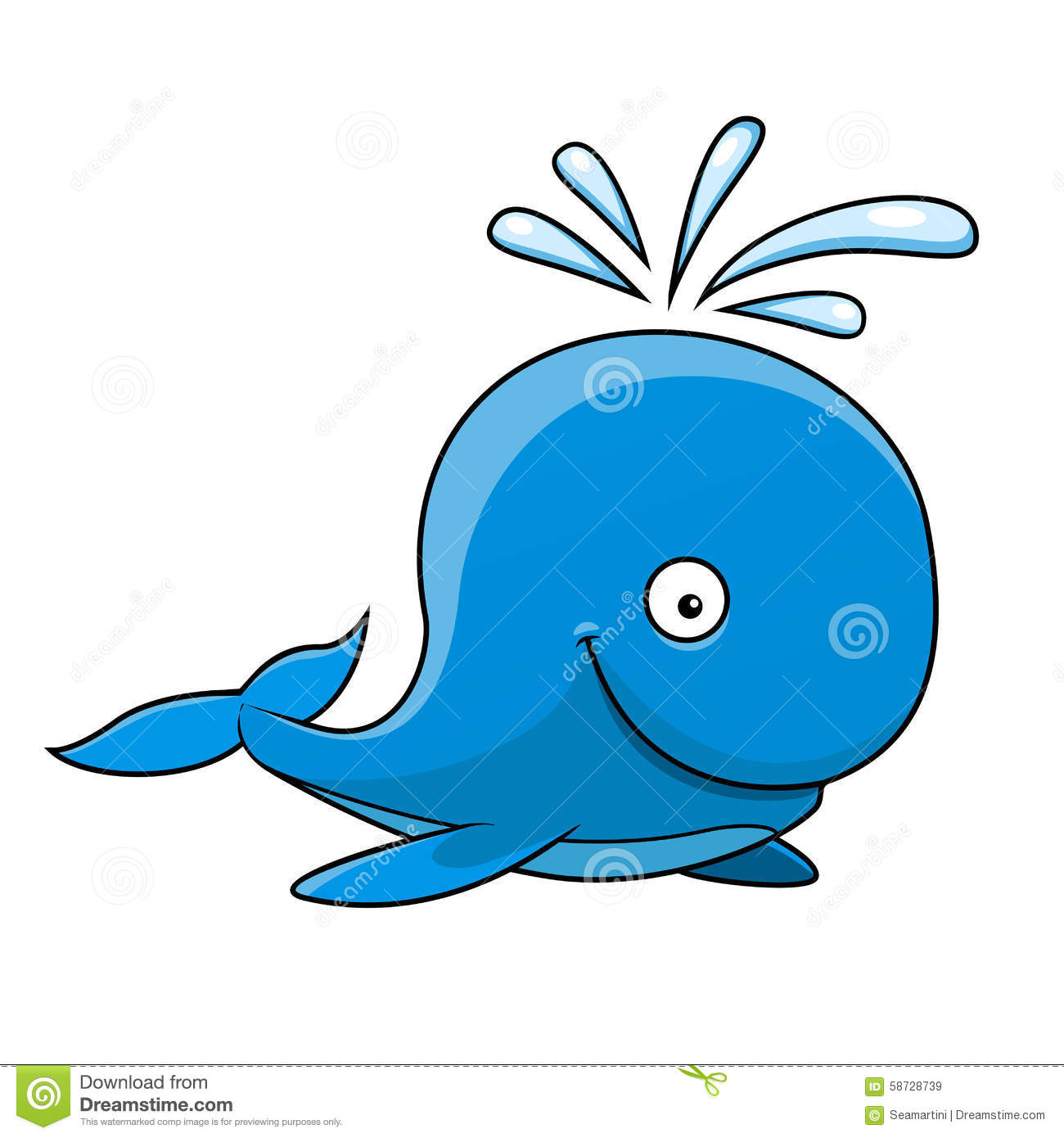 Cute whale in water cartoon isolated illustration stock photography - Big Blue Cartoon Happy Isolated Smile Water Whale