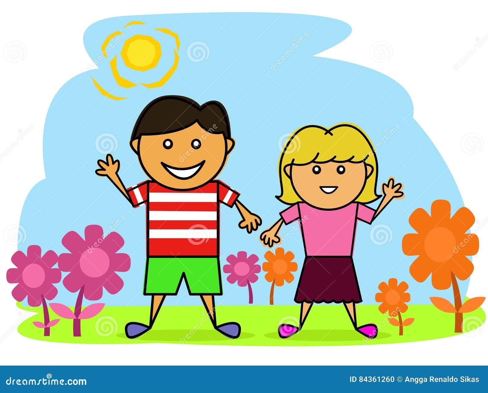 Beautiful garden cartoon - Happy Little Boy And Girl In The Beautiful Garden Cartoon
