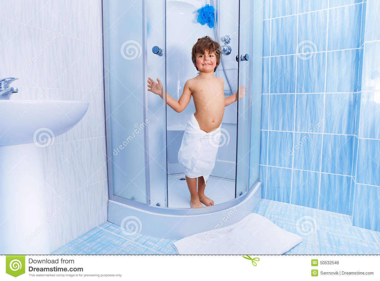 Happy Little Boy In The Hotel Shower Stock Photo - Image of ...