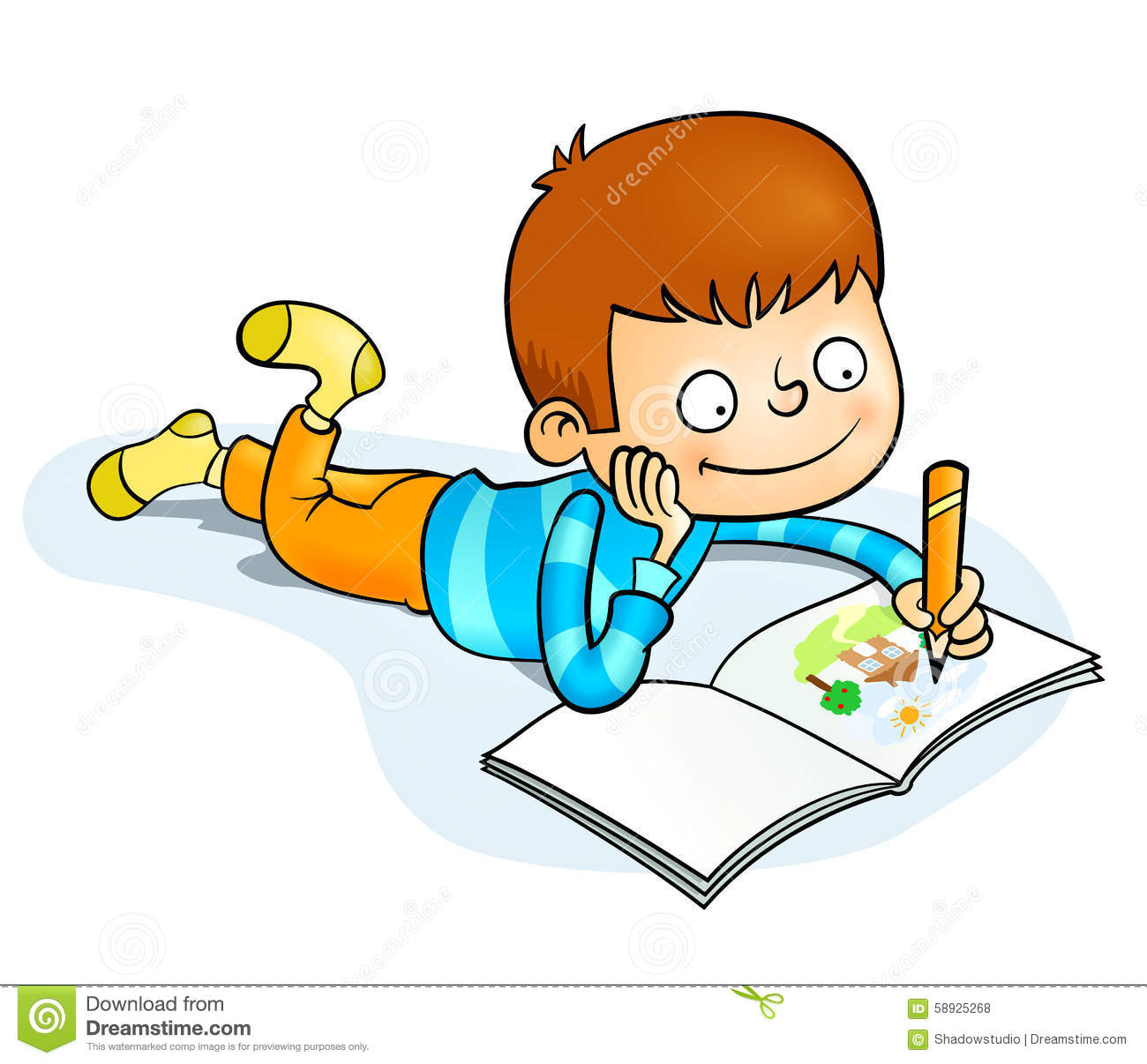 Happy Little Boy Painting Stock Vector Image 58925268