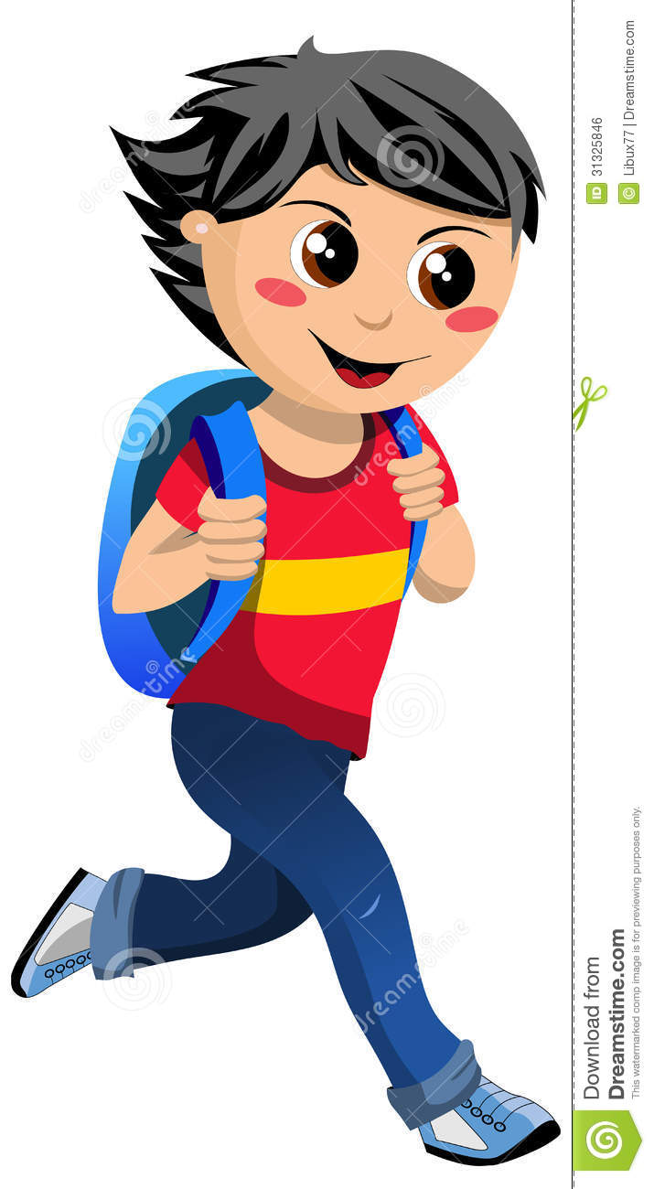 Happy Little Boy With School Bag Going To School Royalty Free Stock ...
